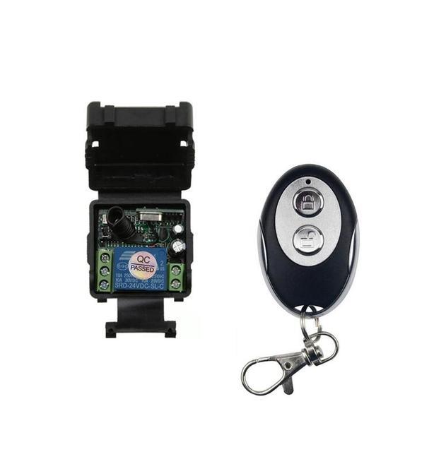 Mini mando inalámbrico de radiofrecuencia Universal 24 v DC 1CH radio transmisor interruptor receptor 433MHZ