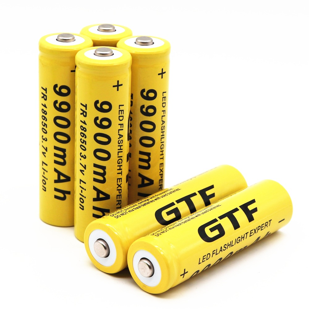 10 Pcs GTF Button Top Batteries High-Capacity 3.7V 9900mAh 18650 Lithium Rechargeable Battery for LED Lights//Toys//MP3//TV Remote Controls//Alarm Clocks//Flashlight Torch not aa Battery not Flat Top