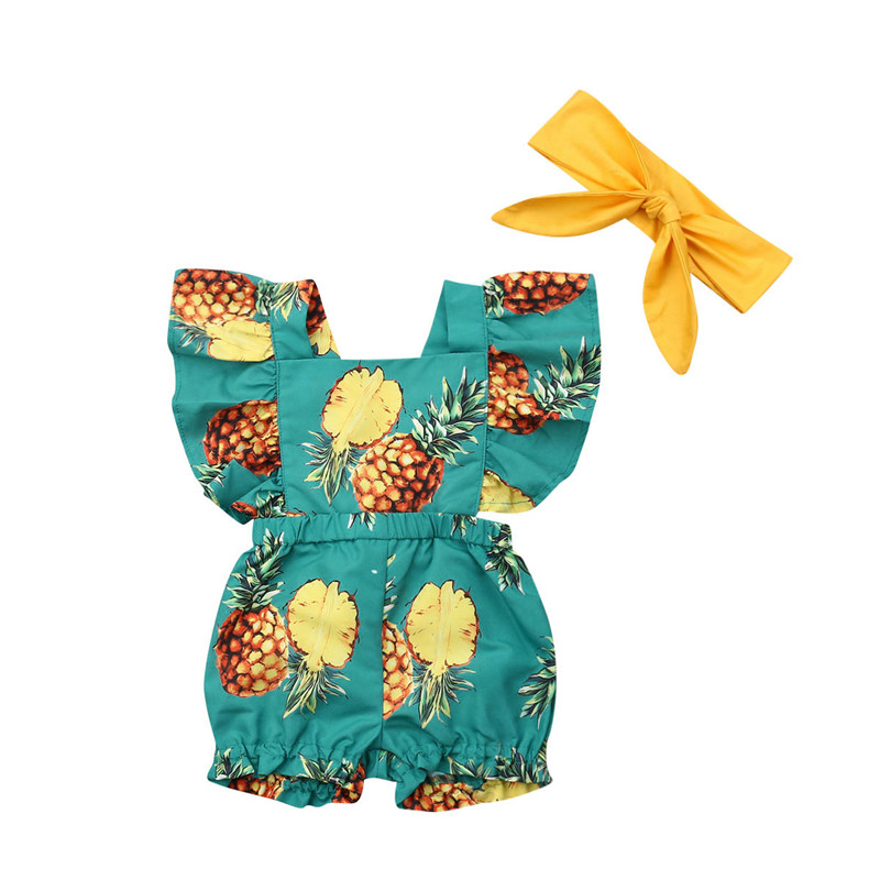 Summer Newborn Infant Baby Girl Clothes Ruffle Pineapple Print   Romper  +Headband Jumpsuit Outfit Sunsuit 2Pcs Set
