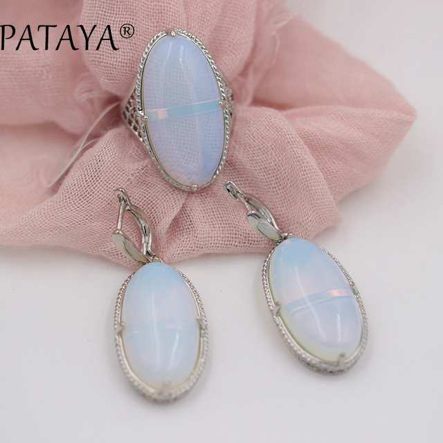 PATAYA Women Wedding Vintage Jewelry Sets Oval Natural Tiger Stone Big Earrings Ring Set True White Gold Hollow Jewelry sets