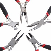 5Pcs Mini Jewelry Chain Round Bent Nose Plier Cutter Beading Tool Repair Kit