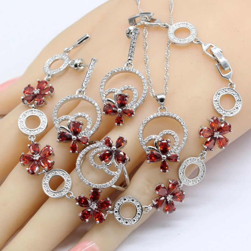Red Cubic Zirconia 925 Silver Stamped Jewelry Sets Wedding Earrings Bracelet Rings Necklace Pendant