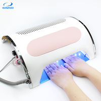New 3 In 1Strong Power 54W Nail Fan Art Salon Suction Dust Collector Vacuum Cleaner Nail Dust Collector + UV LED Nail Dryer Lamp