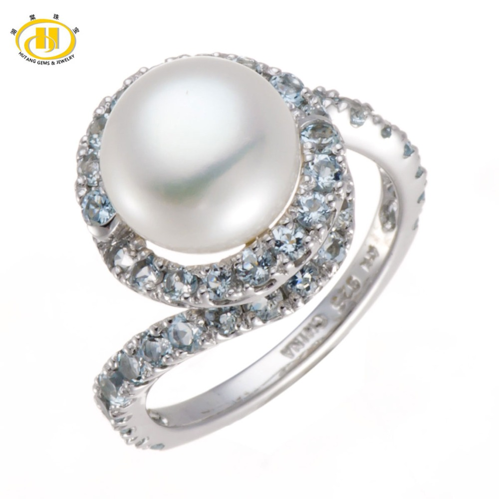 Hutang Freshwater Pearl & Sky Blue Topaz Solid 925 Sterling Silver Ring Fine Jewelry (9-9.5mm) jyx 9 5mm pink genuine freshwater pearl ring shiny crystal in 925 sterling silver jewerly
