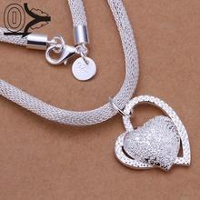 New Design!!Wholesale Silver Plated Necklace & Pendant,Fashion Jewelry Accessories,Inlaid Stone Heart Pendant Silver Necklace