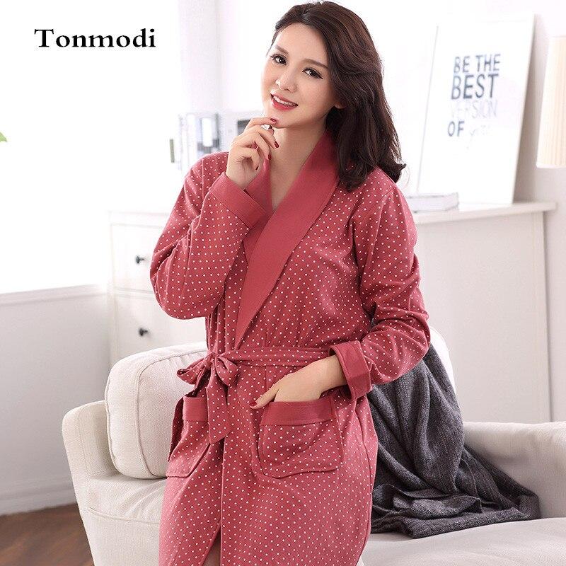 2656f38793d3 Sleep Robes For Women Autumn Bathrobes Long Sleeve Cotton Robe ...