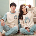 Totoro Pajamas Flannel Suits Male Female Couples Pajamas Siamese Spring Pajamas Family Fitted Cartoon 2017 New Cute Pajamas Sets