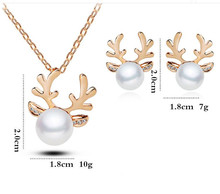 E499 Fashion 2017 Exquisite Antlers Crystal Simulated Pearl Necklace Or Earrings Christmas Jewelry Newest Wedding Jewelry