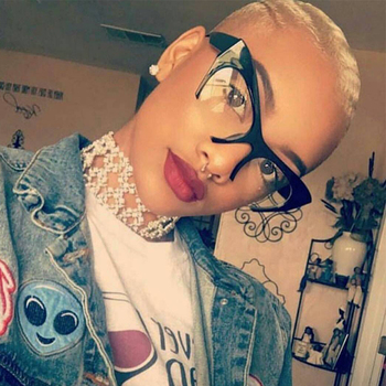 QPeClou małe pół ramki oprawki do okularów kocie oczy kobiety marka Vintage Cateye okulary z przezroczystymi szkłami panie óculos 2017 ramki okularów tanie i dobre opinie WOMEN Z tworzywa sztucznego Stałe 0375 FRAMES Okulary akcesoria