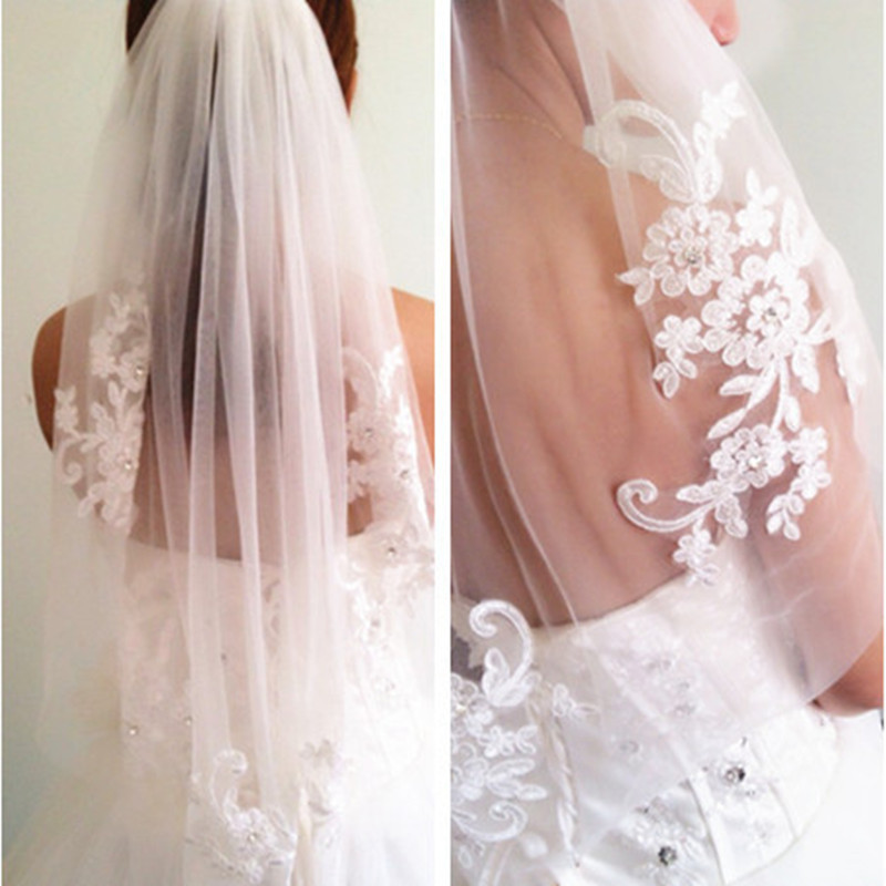 In Stock Short One Layer Waist Length Beaded Diamond Liqued White Or Ivory Wedding Veil Bridal