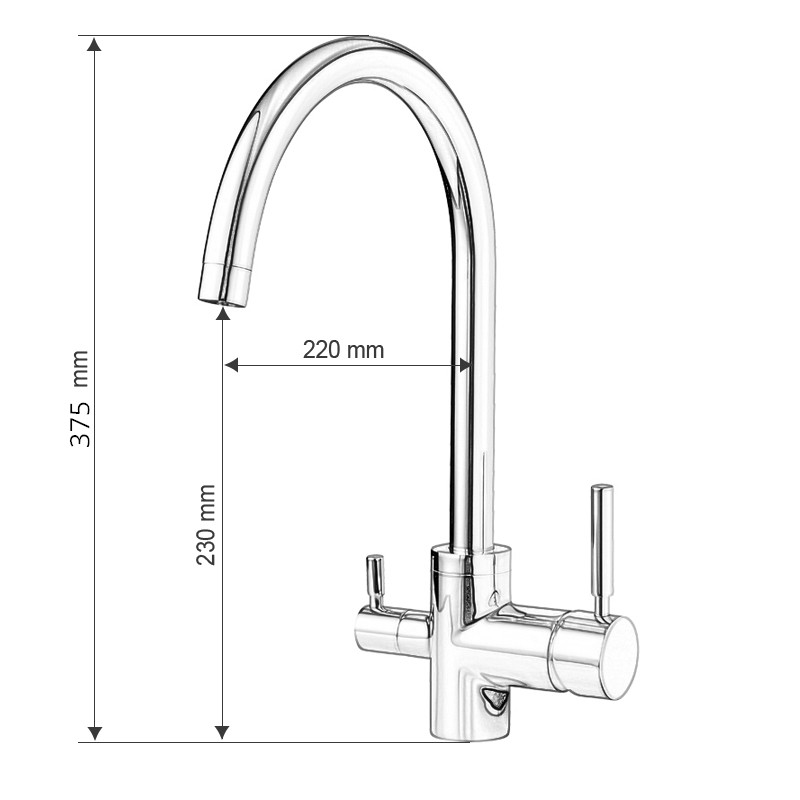 Newly Osmosis Water Filter Three Way Sink Taps Mixer Swivel Water