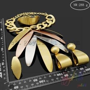 Image 3 - Yulaili بالجملة رخيصة موضة دبي الديكور مجموعات مجوهرات ارتفع الذهب اللون ورقة كبيرة شكل قلادة قلادة أقراط