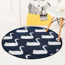 Simple Swan circular Flamingo carpet living room rug SOFT round FASHION geometric bedroomcarton children play mat tapetes chair(China)