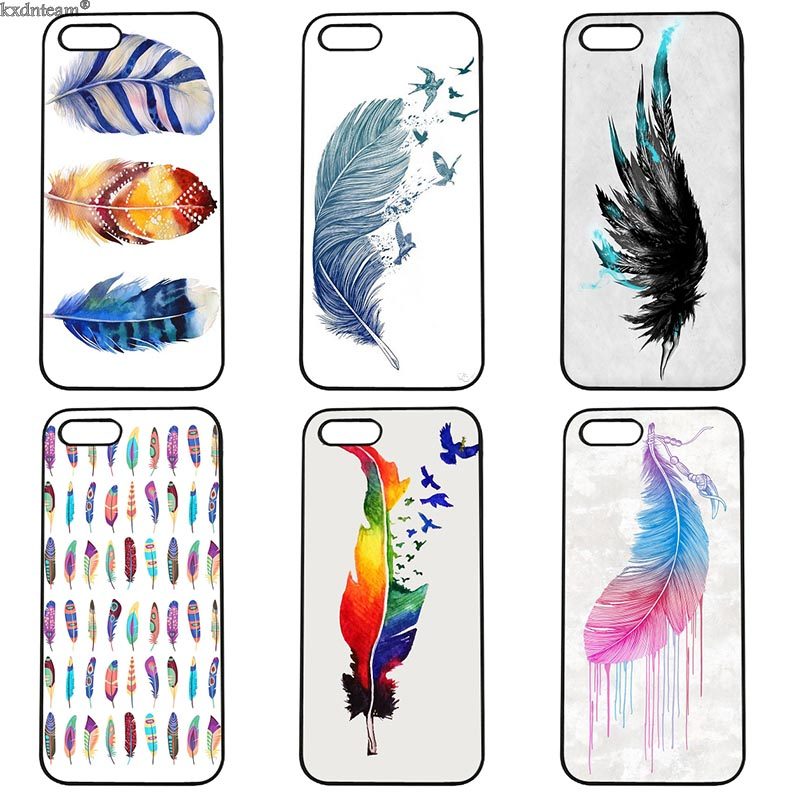 Fashion Colorful Watercolors Feathers Hard Phone Case Fitted for iphone 8 7 6 6S Plus X 5S 5C 5 SE 4 4S iPod Touch 4 5 6 Cover