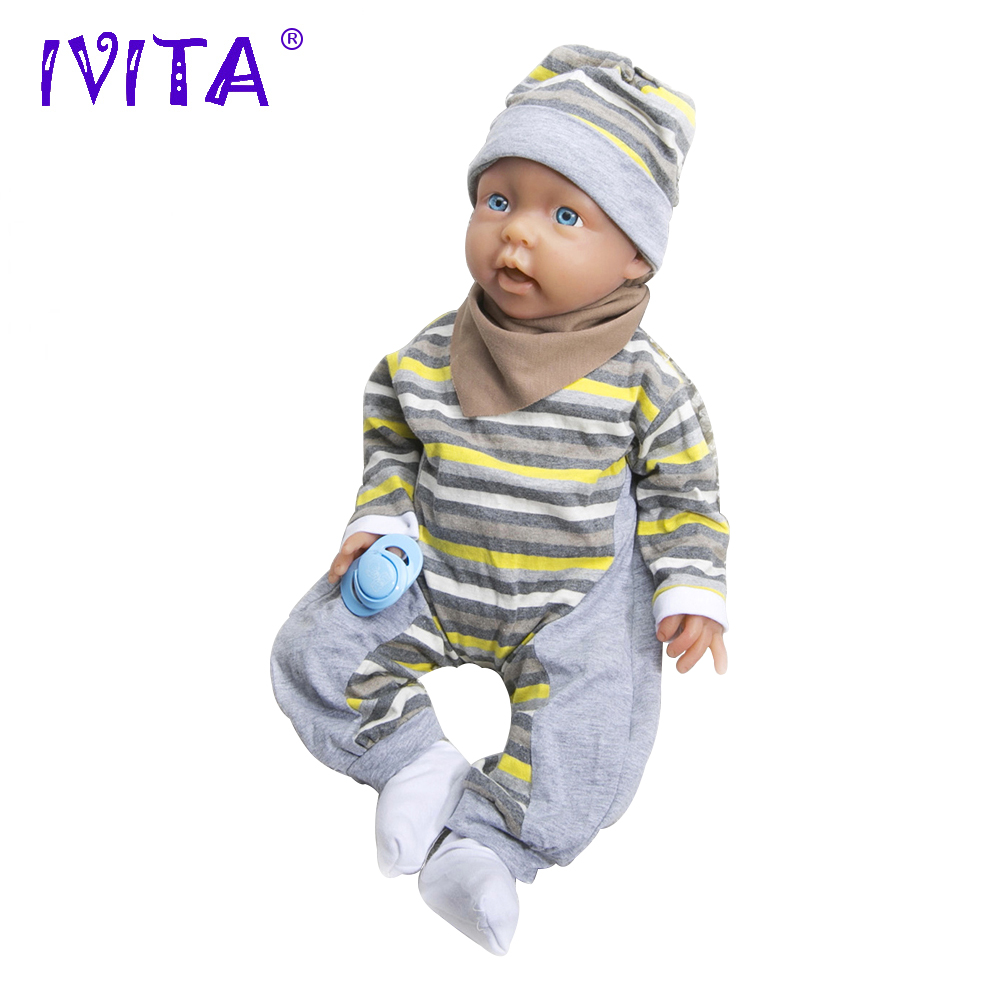 IVITA 20 Inch 3960g Silikon Reborn Bayi Realistis Biru Mata Lembut - Boneka dan mainan lunak - Foto 2