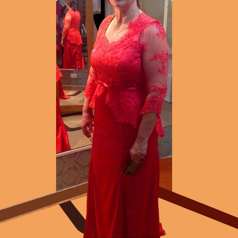 Red Plus Size Mother Of Bride Dresses For Wedding 34 Sleeve 2016