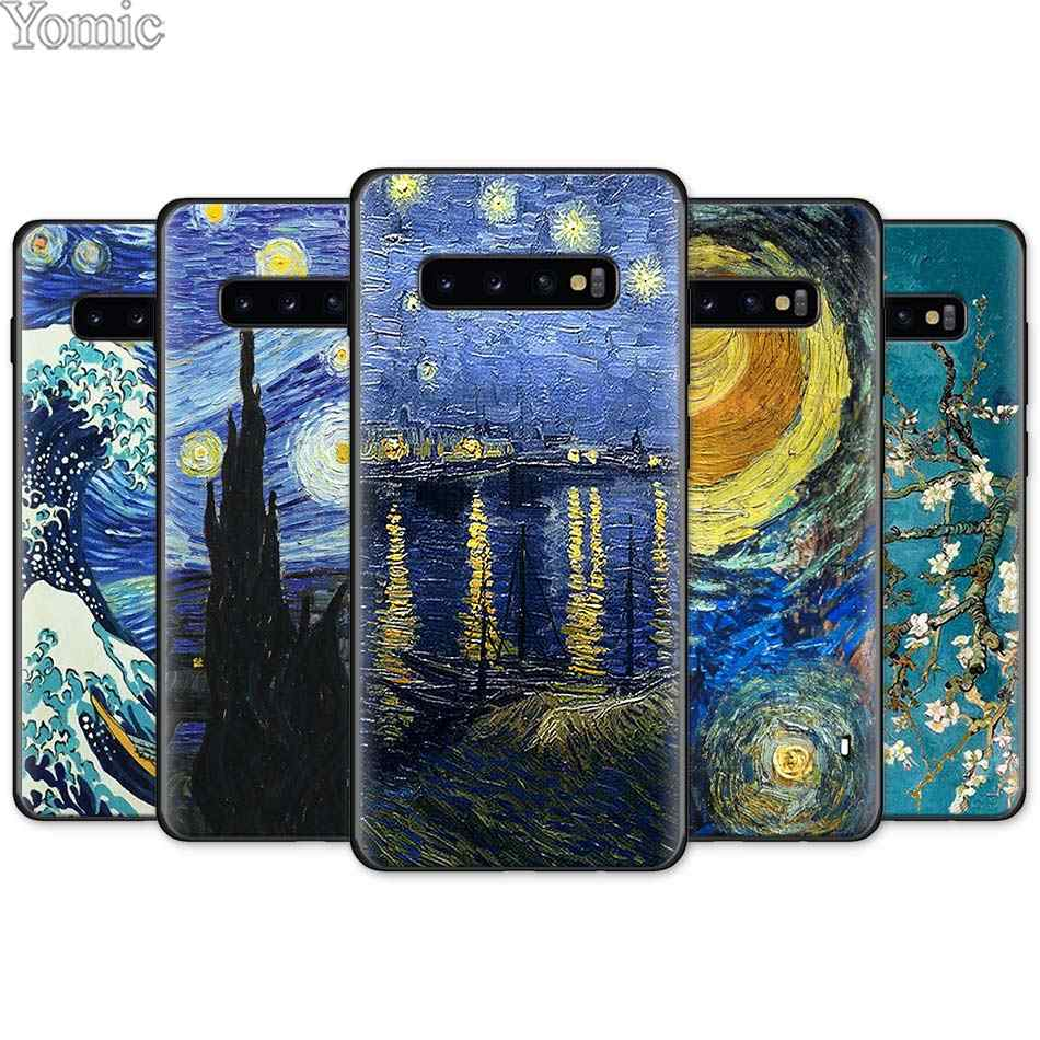 paintings Starry Night Van Gogh Black Silicone Case for Samsung Galaxy S10e S10 S8 S9 Plus S7 Note 8 9 A40 A50 A70 Case Cover
