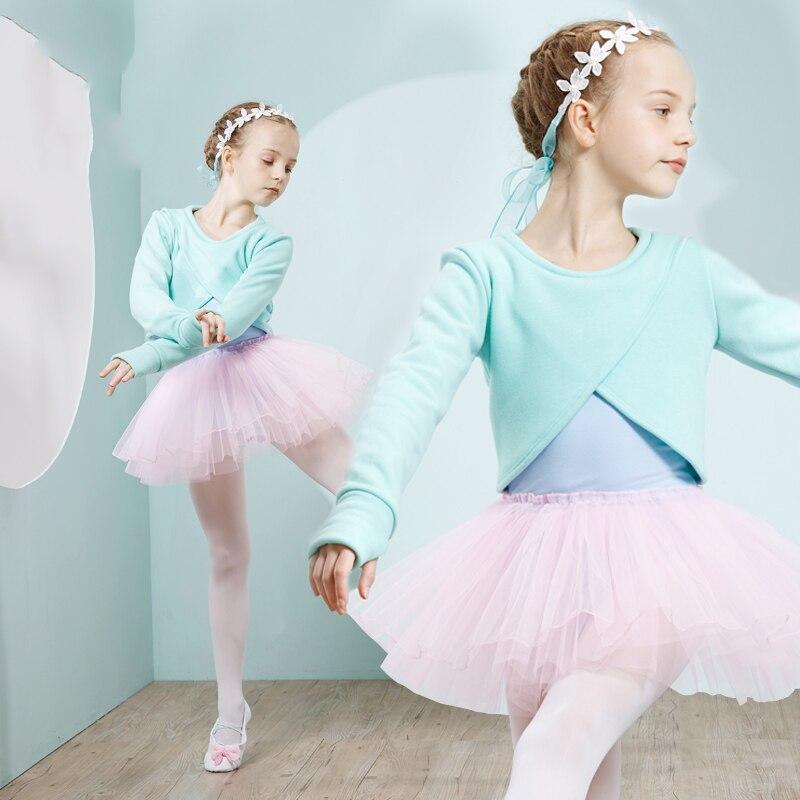 Ballet justaucorps filles Tutu robe mode danse Costumes pour enfants à manches longues body hiver Plus velours Dancewear vêtements DC1219 - 2