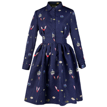 2016 New FREE SHIPPING Spring Vintage Elegant Long Sleeved Polo Collar Slim Shirt Style Dark Blue Tutu Dress Original Design