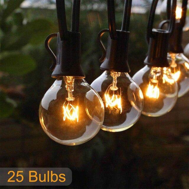 25FT الباحة سلسلة ضوء عيد الميلاد G40 غلوب اكليل لمبة الجنية سلسلة ضوء في الهواء الطلق حديقة جارلاند الزفاف ديكور