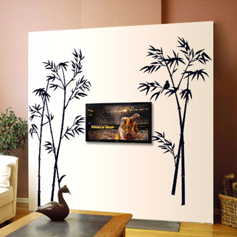 Ink Painting Bamboo Wall Decor DIY Removable Art Vinyl Black Bamboo Wall  Sticker Decal Mural Home Room Elegant Decor For Bedroom In Wall Stickers  From Home ...