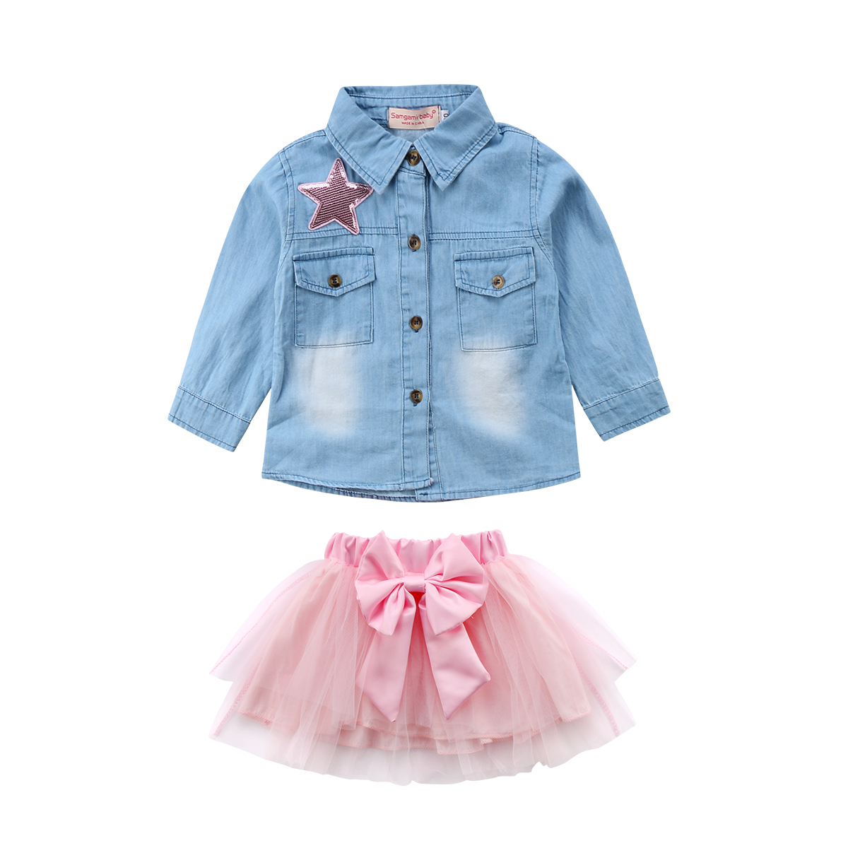 2PCS Toddler Kids Baby Girl Clothing Denim Top Shirt Long Sleeve Tutu Skirt Bow 2pcs Outfits Clothes Set Girls 1-6T princess toddler kids baby girl clothes sets sequins tops vest tutu skirts cute ball headband 3pcs outfits set girls clothing