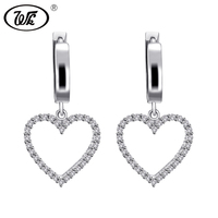 WK 925 Sterling Silver Korean Clip Earrings Women Elegant Shiny Cubic Zirconia Crystal Heart Clip On