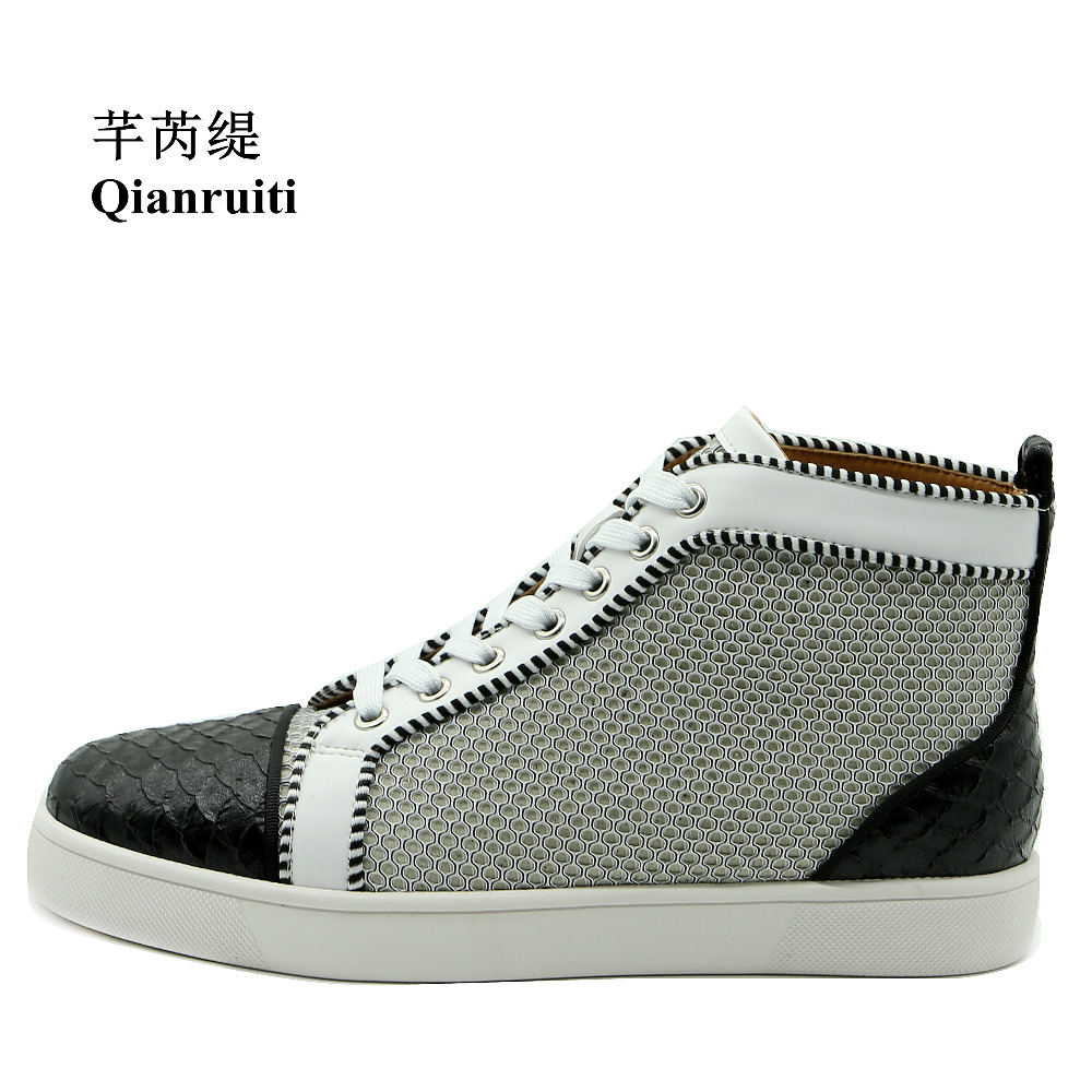Qianruiti Men Alligator Sneaker High Top  Breathable Flat Lace-up Patchwork Ankle Boots Zapatillas Hombre EU39-EU47 new spring men shoes trainers leather fashion casual high top walking lace up ankle boots for men red zapatillas hombre