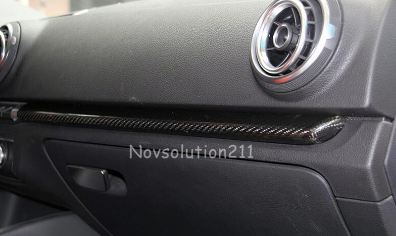 Left hand side Drive! Car styling Real Carbon Fiber Dashboard Console Stripe Cover Trim For Audi A3 8V 2013 2014 2015 2016 epr car styling for mazda rx7 fc3s carbon fiber triangle glossy fibre interior side accessories racing trim