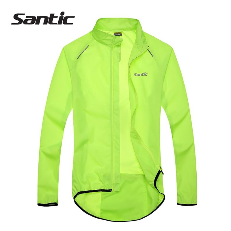 Santic Men Cykeljakke UPF30 + Cykelcykel Rain Jacket Raincoat Langærmet Udendørs Sport Windproof Cykeltøj Ciclismo