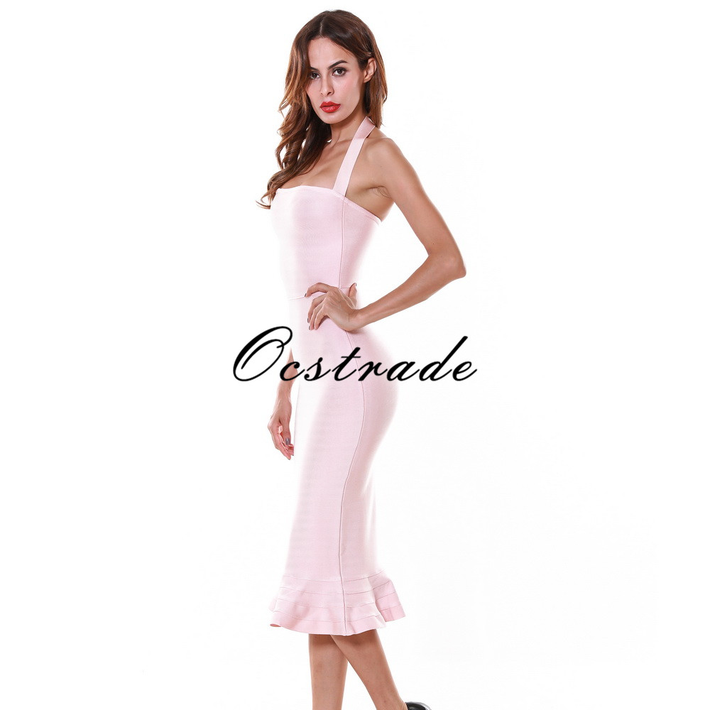 New 2016 Sexy Summer Dress Nude Hater Bandage Dress Knee Length with Fluted hem Wholesale HL-in Dresses from Women's Clothing    2