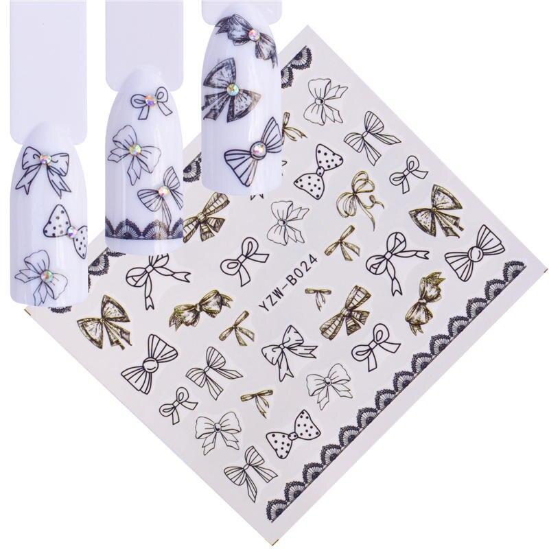 WUF 1 PC Krawatte/Schmuck Blume Wasser Aufkleber Schwarz Aufkleber Für Nagel Muster Malerei Wrap Papier Folie Spitze Tattoo maniküre