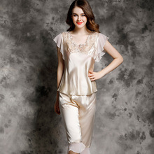 YIYUAN Brand Real Silk Women Pajamas Sexy Lace Pajama Pants Sets High Quality 100% Silk Pyjama Short Sleeve Lounge Set