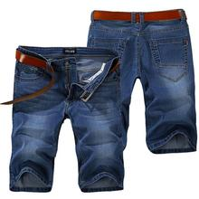 HOT 2017 Indoor Summer Straight Designers Stretch Solid Knee Length Jeans Men Slim City Denim Overalls Men Biker Jeans Shorts
