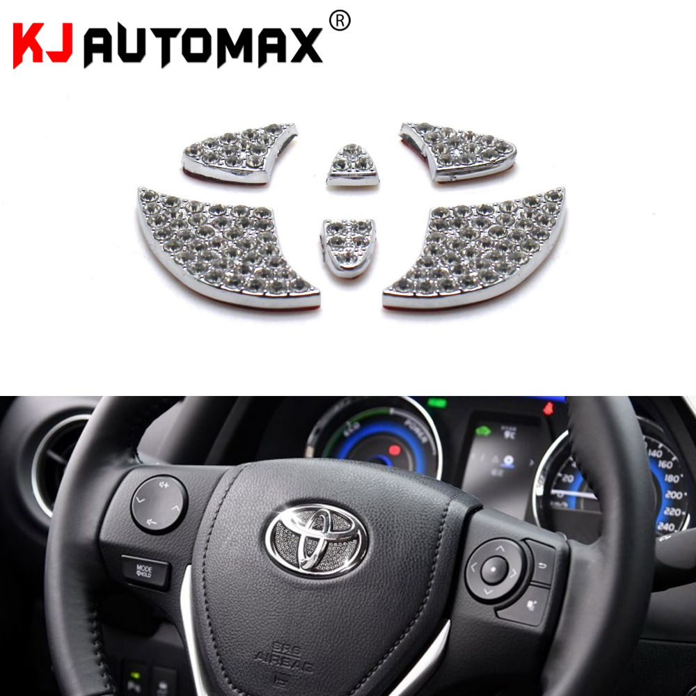 Car Styling Steering Wheel For Toyota Corolla CHR RAV4 Avensis Auris Yaris Bling Crystal Decoration Emblem Sticker Accessories
