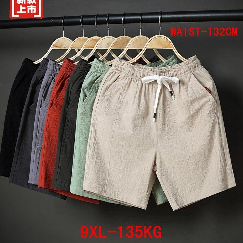 Men's Large Size Shorts XL 6XL 7XL 8XL 9XL Linen Cotton Summer Large Stretch Sports 50 Casual Loose White