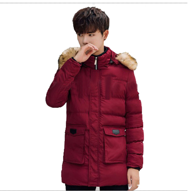 a2ea9448181f Mens Puffer Jacket With Fur Hood Quilted Winter Jacket Men Red Parka Hombre  Long Bubble Coat