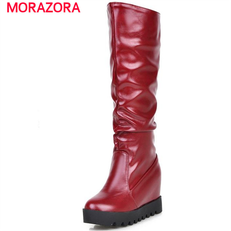 MORAZORA contracted fashion mid calf boots for women winter boots height increasing large size 34-43 solid slip on morazora pointed toe genuine sheepskin leather mid calf boots for women winter large size 34 43 lace up fashion elegant