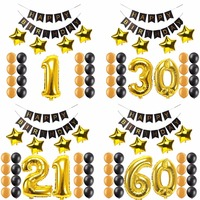 1st 16 20 21 30 40 50 60 Years Old Happy Birthday Paper Banner Number Foil