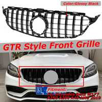 Black / Chrome W205 GTR Grill Car Front Bumper Grill Grille For Mercedes For Benz W205 C200 C300 C250 2019+ Without Camera ABS