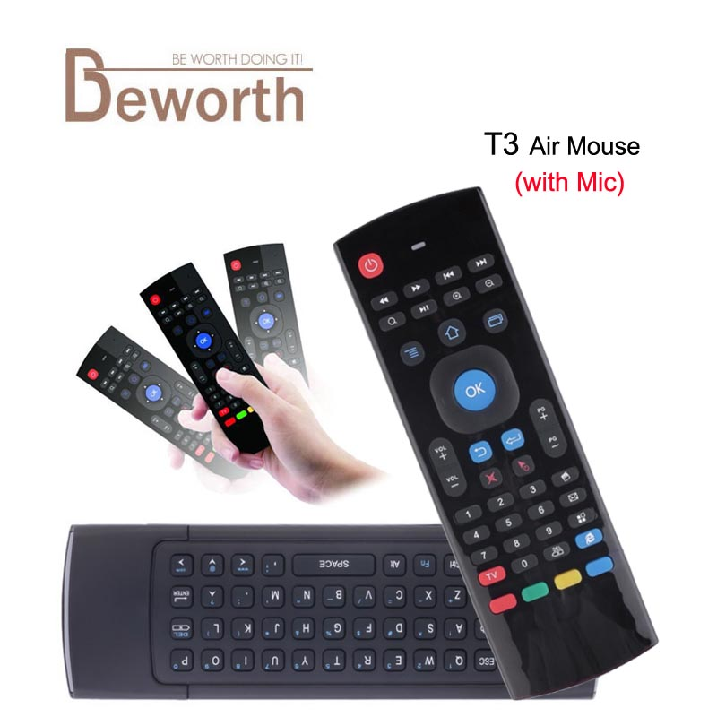 T3 2.4G Fly Air Mouse with Microphone Voice Mini Keyboard Wireless IR Learning Remote Control T3-M Mic Gyroscope Game for TV Box