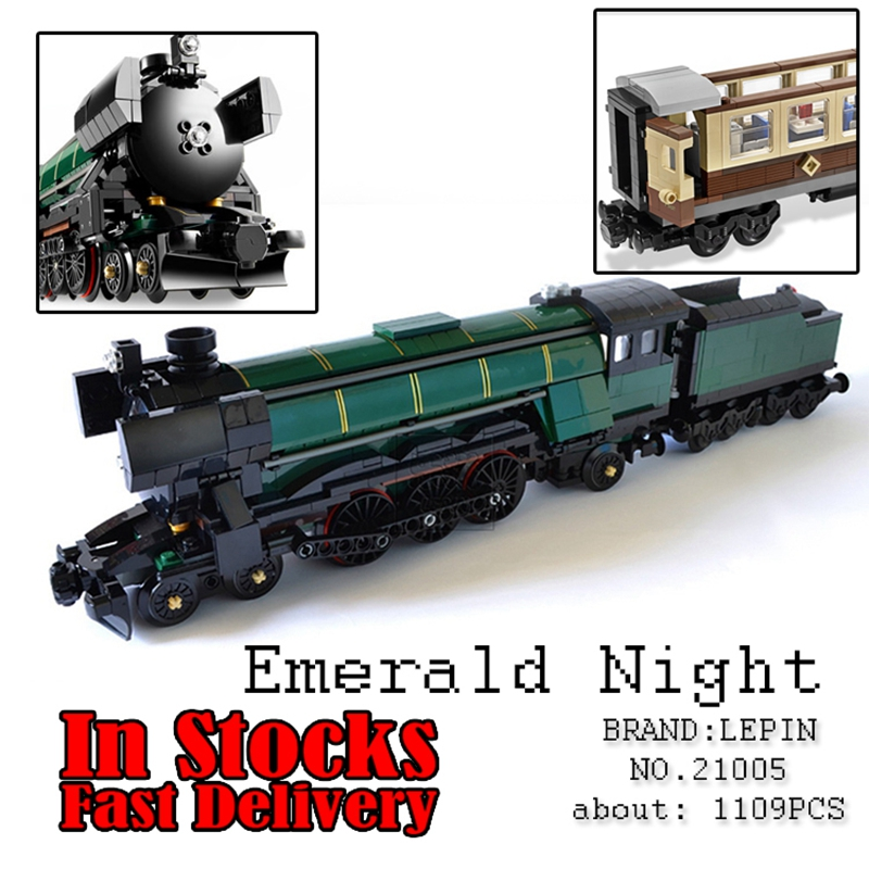 LEPIN 21005 1085Pcs Technic Series Emerald Night Train Building Block Bricks toys for children gifts Compatible 10194 brinquedos 2016 new lepin 21005 creator series the emerald night model building blocks set classic compatible legoed steam trains toys