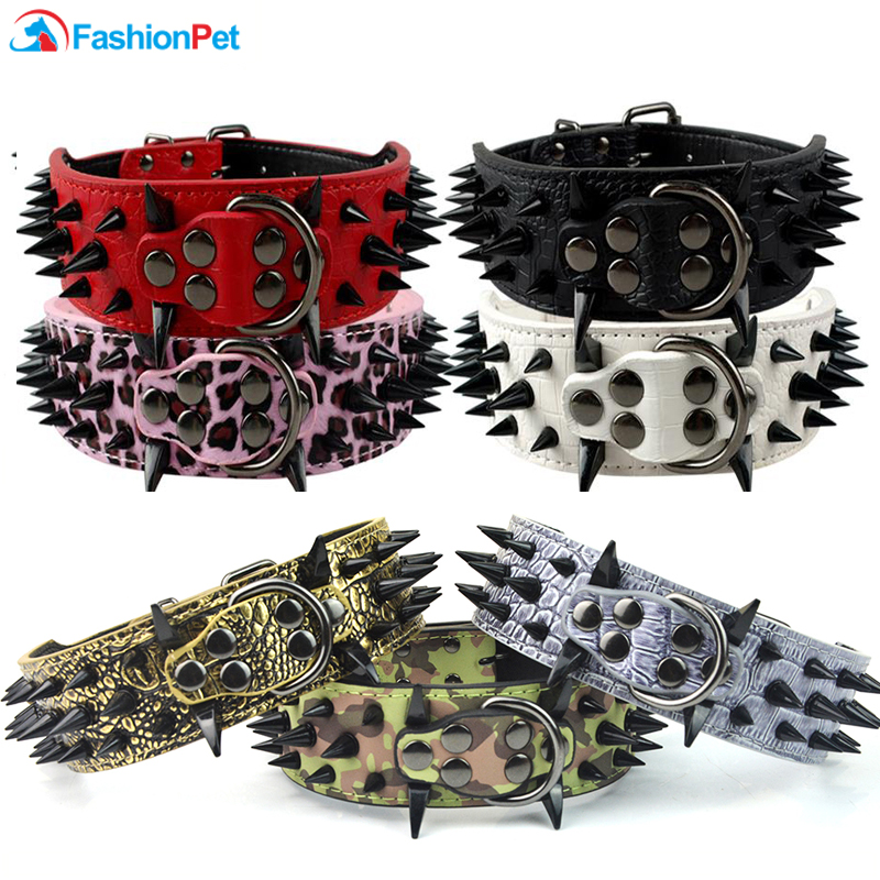 Cool Sharp Spiked Studded PU Collar de perro de cuero para perros medianos grandes PitBull Mastiff Boxer Bully