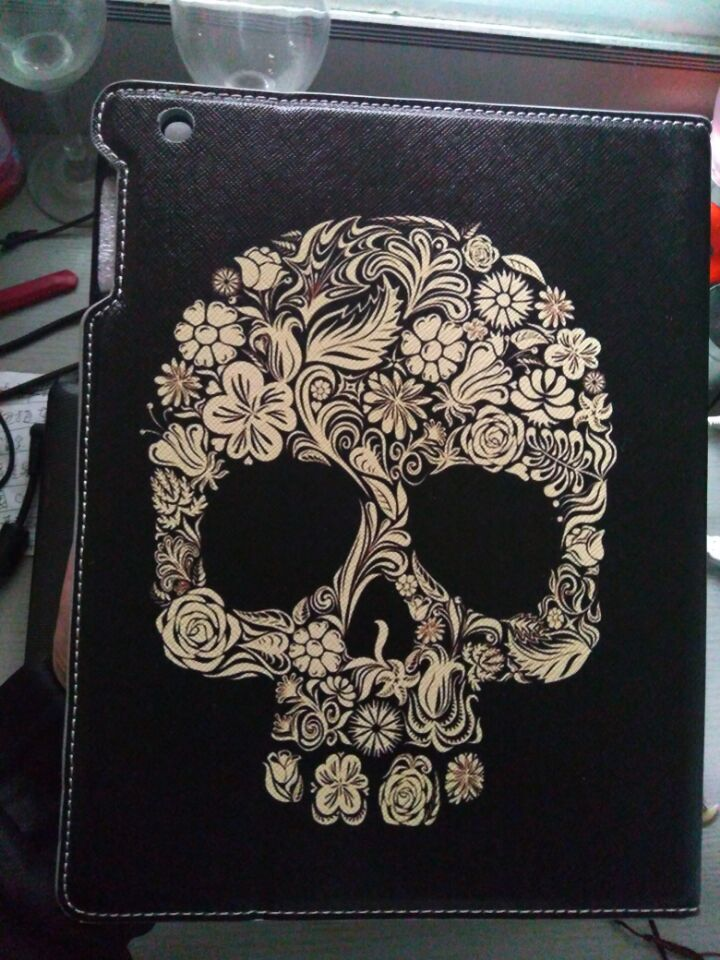 Fashion skull pu leather flip smart case cover for Ipad2 3 4 Protector with Auto wake up/sleep holder function shell