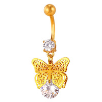 Crystal Butterfly Shape Body Jewelry 18k Real Gold Platinum Plated Navel Piercing Jewelry Women Fashion Belly