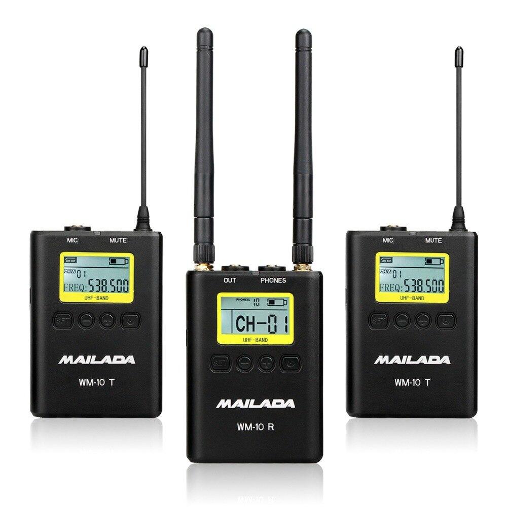 MAILADA WM10 50 Canale Professionale UHF Wireless Sistema di Microfono per DSLR Camcorder Recorder Mic Ricevitore + Trasmettitore F4531A