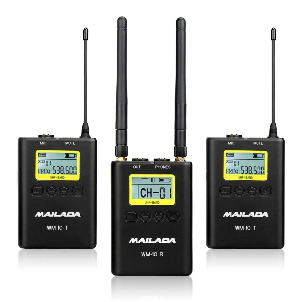 MAILADA WM10 50 Canaux Professionnel UHF Système Micro Sans Fil pour DSLR Caméscope Enregistreur Micro Récepteur + Émetteur F4531A
