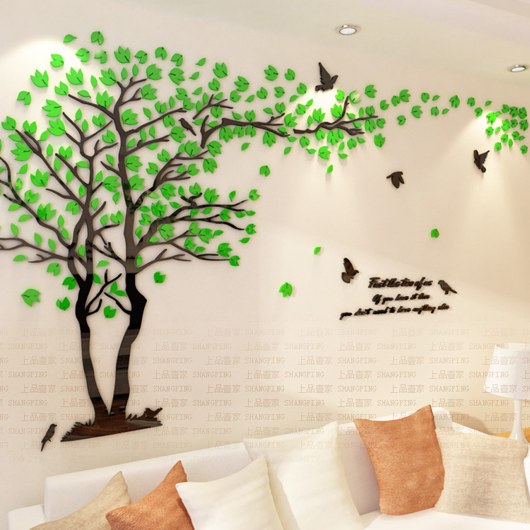 d430507428 New arrival Lovers tree Acrylic crystal wall stickers DIY art wall decor  stickers Living room tv sofa wall 3d decoration-in Wall Stickers from Home  & Garden ...