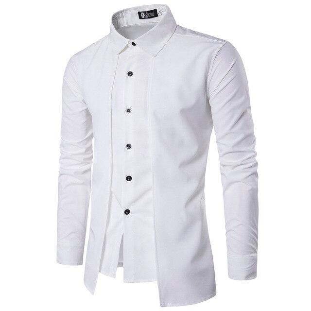 Новый бренд 2018 Для мужчин рубашка поддельные две двери платье рубашка с длинным рукавом Slim Fit Camisa Masculina Повседневное мужской Гавайские рубашки 2X 2