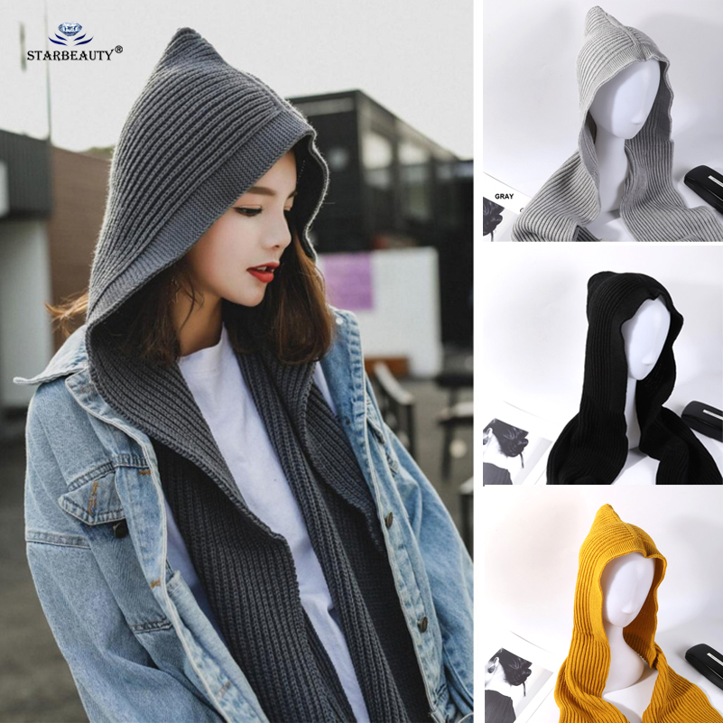Unique Hood Cap Soft Warm Autumn Winter Scarf Women Headwear Wool Yarn Knitted Scarves Scarfs For Ladies Hat And Scarf Set